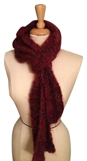 Other Handmade Burgundy Knit Scarf with Metallic embellishments throughout.