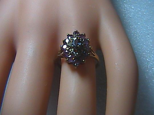 Vintage 10k Yellow Gold 2.0 cts Cluster Ruby & Diamond Ring