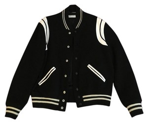 Saint Laurent Bomber Leather Wool Black//White Jacket
