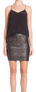 BCBGMAXAZRIA Mini Skirt Metallic and Black