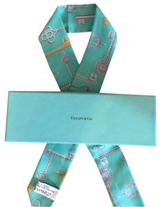 Tiffany & Co. 100% auth Tiffany's bandeau key blue scarf