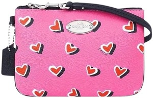 Coach Hearts Limited Edition Leather Trim Wristlet in Pink / Multicolor