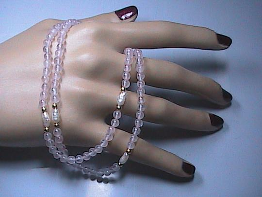 Other 14k Yellow Gold Pink Quartz & Freshwater Pearl Necklace