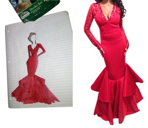 Diane B. Sexy Gown Prom Pageant Crystal Tight Mermai Dress