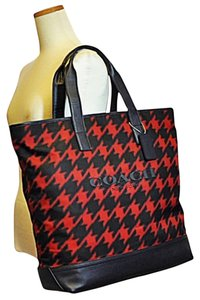 Coach Men's Tote in RED HOUNDSTOOTH