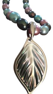 Honora Honora pearl multi color pearl necklace, with mother of pearl charm