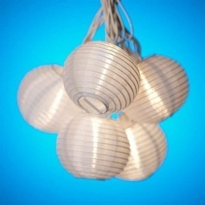 White Small Paper Lanterns String - Set Of 7 Reception Decoration