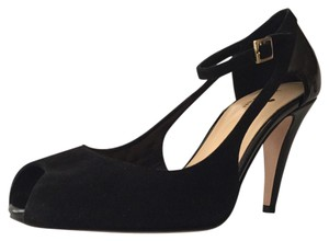 Kate Spade Peep Toe Patent Leather Suede Mary Jane BLACK Pumps