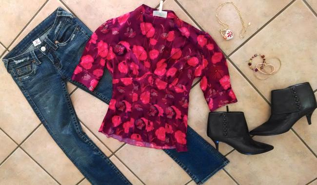 Guess P855 Size Small Silk Button Down Shirt red pink