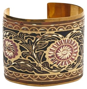 Made It Gold & Pink Etched Cuff Bracelet