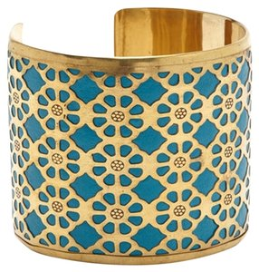 Made It Gold & Blue Carved Cuff Bracelet