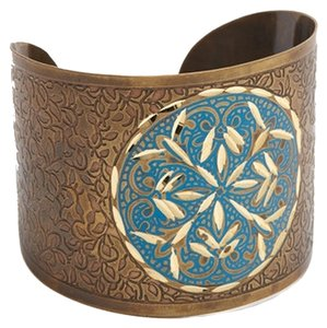 Made It Gold & Blue Circle Etched Cuff Bracelet