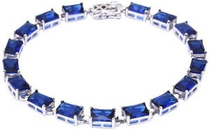 9.2.5 Gorgeous blue sapphire baguette Tennis Bracelet final sale