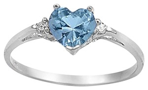 9.2.5 rare aquamarine and white sapphire silver heart ring. Size 7