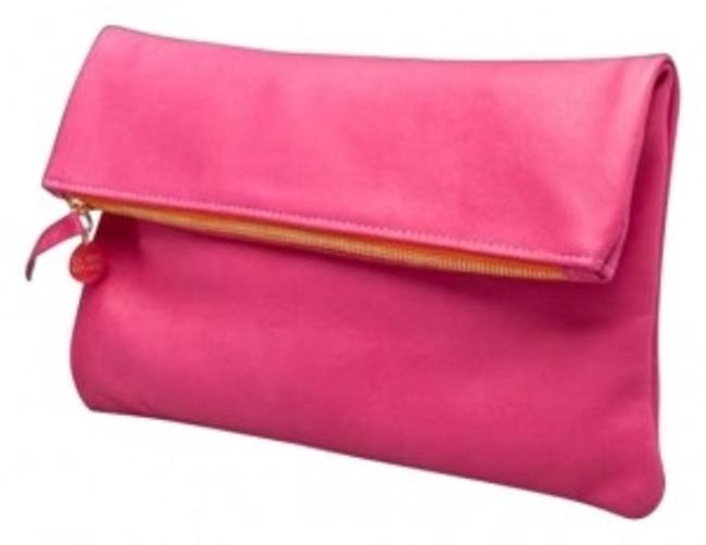 Item - Foldover Cl10002 Hot Pink Leather Clutch
