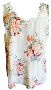 Joie Tank Tank Silk Razor Back Top Cream Floral Design