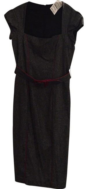 Item - Black White with Red Trim Detail. Belted Cap Sleeve Mid-length Night Out Dress Size 8 (M)