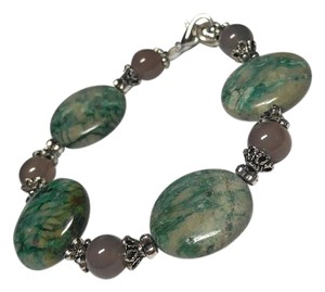 Other New Raw Turquoise & Smoky Quartz Gemstone Bracelet J2187