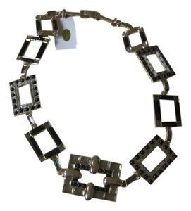 Isaac Mizrahi Black & Crystal Deco Statement Necklace