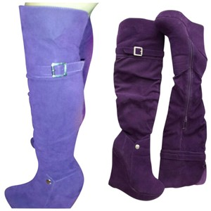 Ami Over The Knee Sexy Halloween Costume Club Faux Suede Purple Boots