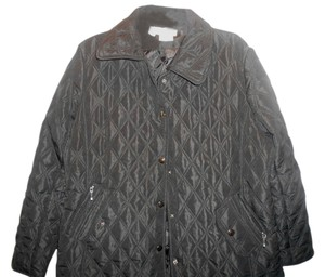 Norm Thompson Quilted Coat Size Large Black Jacket