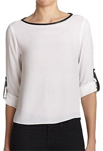 Alice + Olivia Top White With Black Trim