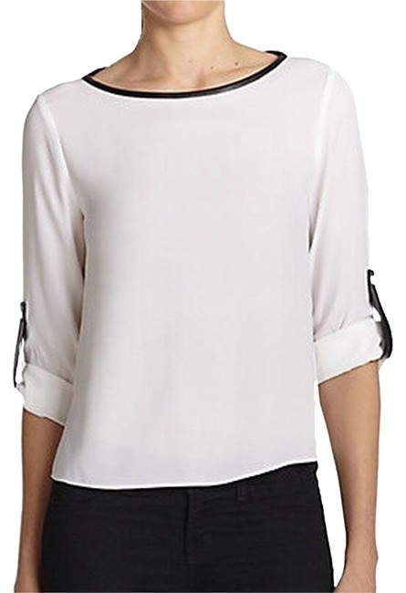 Preload https://item5.tradesy.com/images/alice-olivia-white-with-black-trim-leather-silk-shirt-blouse-size-0-xs-1283624-0-1.jpg?width=400&height=650