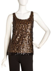 Laundry by Shelli Segal Chic Sequin Classy Sparkle Top Black And Honey
