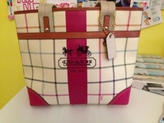 Preload https://item2.tradesy.com/images/coach-heritage-stripe-tattersall-medium-handbag-purse-multi-color-with-pink-and-tan-accent-trim-leat-128366-0-0.jpg?width=440&height=440