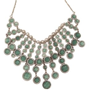 Lucky Brand BRAND NEW! Lucky Brand Silver-Tone Green Statement Necklace