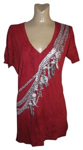 Affliction Foil Print Skulls Charms Feathers Keys Blood T Shirt Red