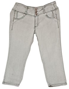 Coco Line Embroidery Silver Buttons Rhinestones Silver Florets Studded Capri/Cropped Denim-Light Wash