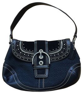 Coach Suede Leather Studded Shoulder Bag