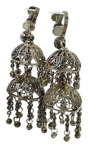 Other Victorian Filigree Silver Earrings - Two Tier Dome Earrings - Vintage Chandelier Earrings