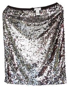 Carmen Marc Valvo Sequins Skirt Silver and Black