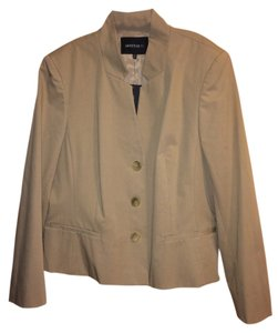 Lafayette 148 New York Three Button Blazer Cotton Khaki Jacket