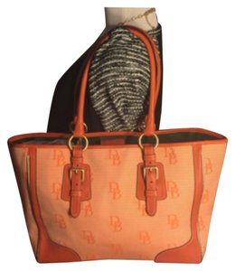 Dooney & Bourke Tote in Orange /White/Brass