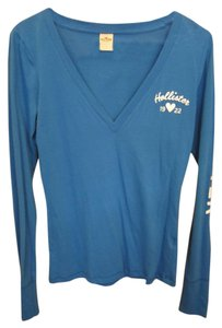 Hollister Medium Royal Long Sleeve V Neck Logo White Cobalt Lettered M T Shirt Blue
