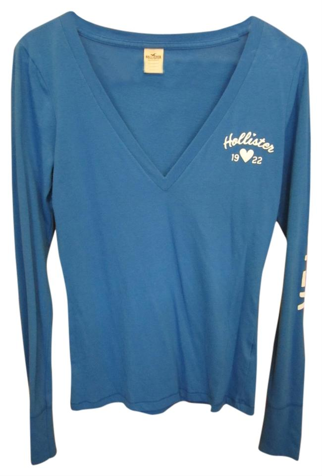 Hollister medium royal long sleeve v neck logo white for Blue and white long sleeve shirt