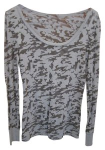 City Streets Camo Sleeve Scoop Neck Crew Army T Shirt Green