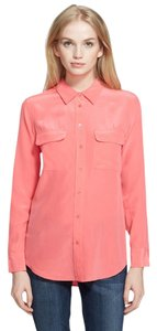Equipment Silk Button Down Signature Slim Pink Top watermelon