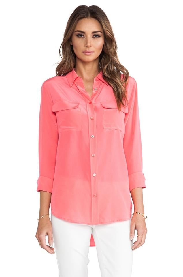 3ff8527ba4f7cd Equipment Silk Button Down Signature Slim Pink Top watermelon Image 10.  1234567891011