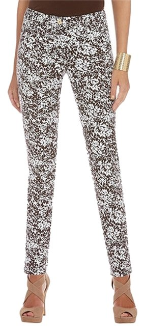 Item - Brown/ White Slim-leg Leap Printed Pants Skinny Jeans Size 29 (6, M)