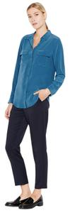 Equipment Silk Button Down Signature Slim Top Majolica Blue