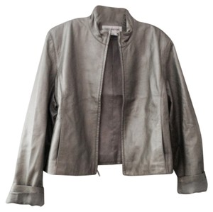 Jones New York Silver Leather Jacket