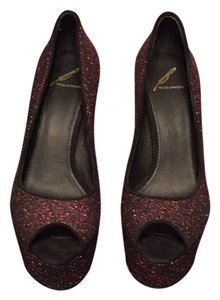 B Brian Atwood Hot pink & black sparkle. Platforms