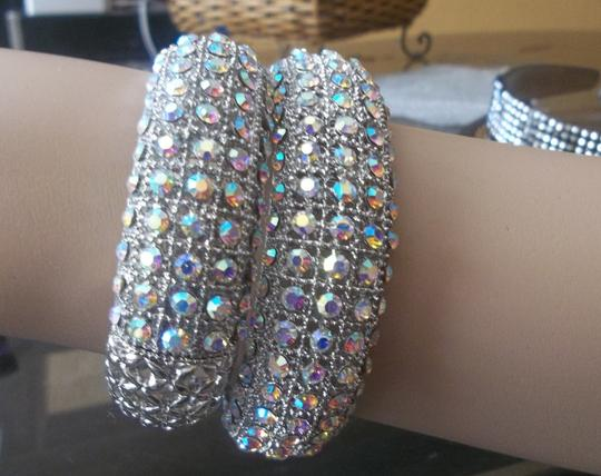 Chunky Rhinestone Crystal Wedding Reception Set Of 2 Rhinestone Bangles