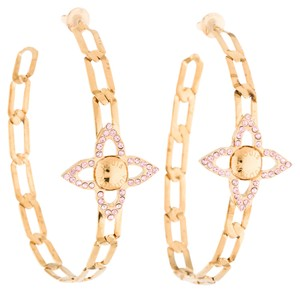 Louis Vuitton Gold-tone Louis Vuitton pink crystal LV monogram chain hoop earrings New