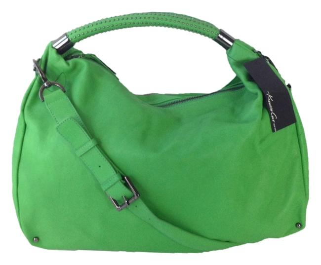 Item - New York No Slouch Studded Canopy Green Leather Hobo Bag