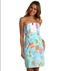 Lilly Pulitzer short dress Blue Spring Summer Sundress Strapless on Tradesy